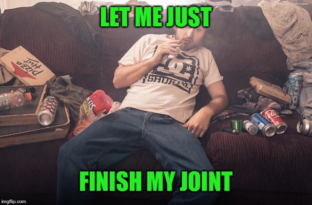 Stoner on couch | LET ME JUST FINISH MY JOINT | image tagged in stoner on couch | made w/ Imgflip meme maker