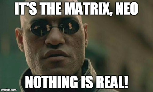 Matrix Morpheus Meme | IT'S THE MATRIX, NEO NOTHING IS REAL! | image tagged in memes,matrix morpheus | made w/ Imgflip meme maker