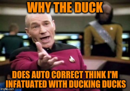 Picard Wtf | WHY THE DUCK DOES AUTO CORRECT THINK I'M INFATUATED WITH DUCKING DUCKS | image tagged in memes,picard wtf,funny,autocorrect,grammar,funny memes | made w/ Imgflip meme maker