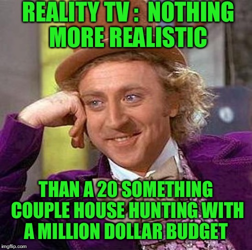 And my personal favorite is that he works from home and she's a housewife  | REALITY TV :  NOTHING MORE REALISTIC THAN A 20 SOMETHING COUPLE HOUSE HUNTING WITH A MILLION DOLLAR BUDGET | image tagged in memes,creepy condescending wonka | made w/ Imgflip meme maker