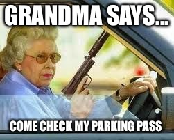Parking Pass  | GRANDMA SAYS... COME CHECK MY PARKING PASS | image tagged in parking fee,grandma with a gun,pissed off | made w/ Imgflip meme maker