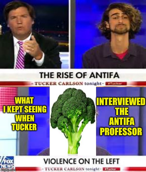 Be afraid!!! Be VERY afraid!!!... Of broccoli:) | INTERVIEWED THE ANTIFA PROFESSOR WHAT I KEPT SEEING WHEN TUCKER | image tagged in memes | made w/ Imgflip meme maker