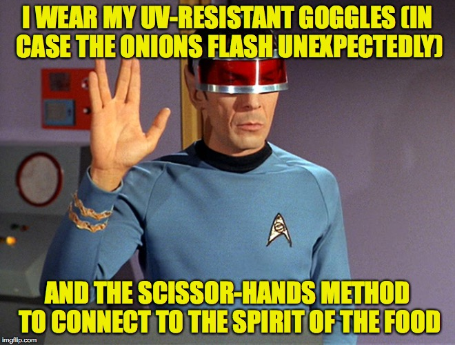 I WEAR MY UV-RESISTANT GOGGLES (IN CASE THE ONIONS FLASH UNEXPECTEDLY) AND THE SCISSOR-HANDS METHOD TO CONNECT TO THE SPIRIT OF THE FOOD | made w/ Imgflip meme maker