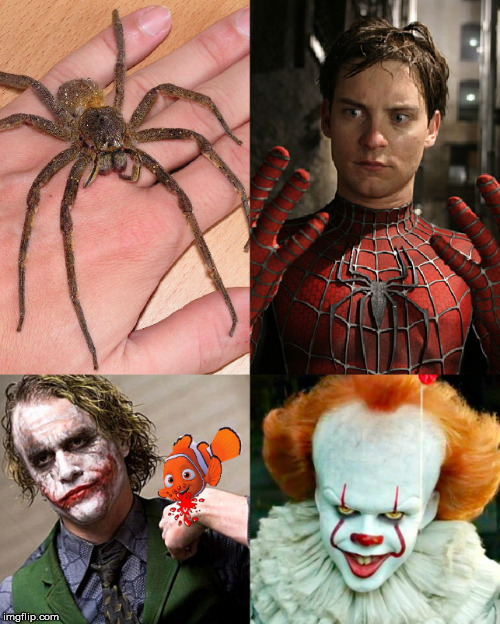 Bite | image tagged in peter parker's spider bite,nemo,joker,pennywise | made w/ Imgflip meme maker