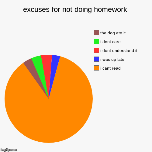 excuses for not doing homework | i cant read, i was up late, i dont understand it, i dont care, the dog ate it | image tagged in funny,pie charts | made w/ Imgflip chart maker