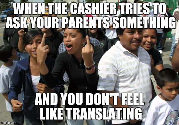 The face you make at Walmart | WHEN THE CASHIER TRIES TO ASK YOUR PARENTS SOMETHING AND YOU DON'T FEEL LIKE TRANSLATING | image tagged in mexican bird,walmart | made w/ Imgflip meme maker