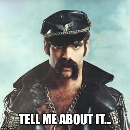 TELL ME ABOUT IT... | image tagged in leather man | made w/ Imgflip meme maker