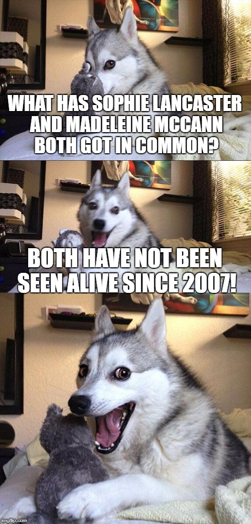 Bad Pun Dog Meme | WHAT HAS SOPHIE LANCASTER AND MADELEINE MCCANN BOTH GOT IN COMMON? BOTH HAVE NOT BEEN SEEN ALIVE SINCE 2007! | image tagged in memes,bad pun dog | made w/ Imgflip meme maker