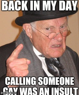 these are the days I miss | BACK IN MY DAY CALLING SOMEONE GAY WAS AN INSULT | image tagged in memes,back in my day,slowstack | made w/ Imgflip meme maker