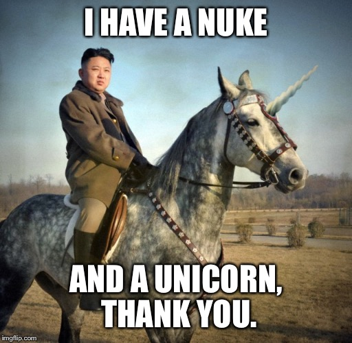 I HAVE A NUKE AND A UNICORN, THANK YOU. | made w/ Imgflip meme maker