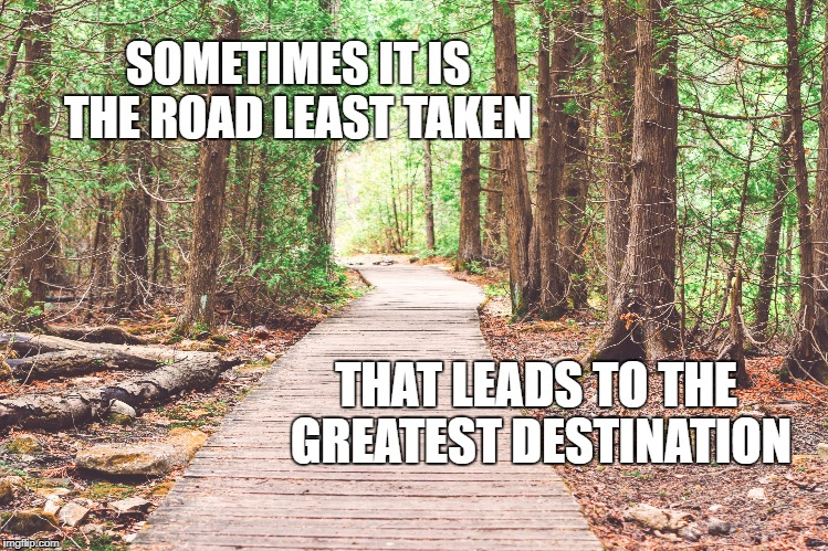 The road least taken | SOMETIMES IT IS THE ROAD LEAST TAKEN THAT LEADS TO THE GREATEST DESTINATION | image tagged in journey,life,road,greatness,inspirational quote,nature | made w/ Imgflip meme maker