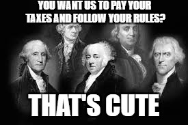 My history teacher wanted me to make a meme about them, so I came here. I decided to publish it just because! | YOU WANT US TO PAY YOUR TAXES AND FOLLOW YOUR RULES THAT'S CUTE | image tagged in memes,history class,founding fathers | made w/ Imgflip meme maker
