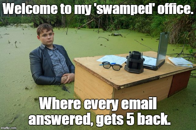 Welcome to my 'swamped' office. Where every email answered, gets 5 back. | image tagged in swamp desk | made w/ Imgflip meme maker