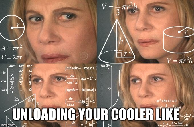 UNLOADING YOUR COOLER LIKE | image tagged in math lady | made w/ Imgflip meme maker