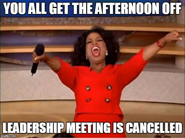 Oprah You Get A Meme | YOU ALL GET THE AFTERNOON OFF LEADERSHIP MEETING IS CANCELLED | image tagged in memes,oprah you get a | made w/ Imgflip meme maker