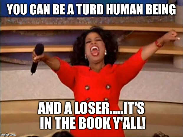 Oprah You Get A Meme | YOU CAN BE A TURD HUMAN BEING AND A LOSER.....IT'S IN THE BOOK Y'ALL! | image tagged in memes,oprah you get a | made w/ Imgflip meme maker
