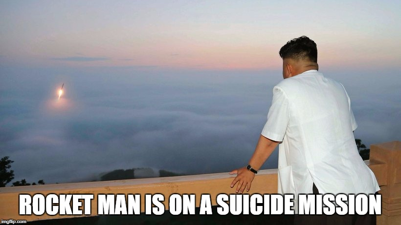 ROCKET MAN IS ON A SUICIDE MISSION | image tagged in rocketman | made w/ Imgflip meme maker