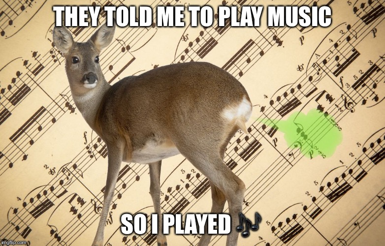 THEY TOLD ME TO PLAY MUSIC SO I PLAYED  | image tagged in deer | made w/ Imgflip meme maker