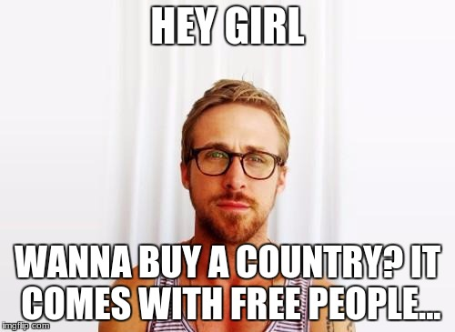 Ryan Gosling Hey Girl | HEY GIRL WANNA BUY A COUNTRY? IT COMES WITH FREE PEOPLE... | image tagged in ryan gosling hey girl | made w/ Imgflip meme maker