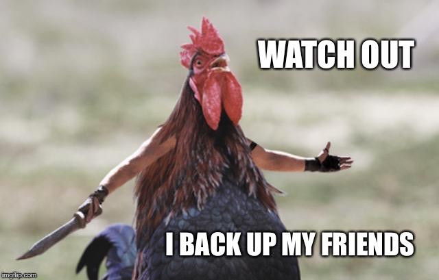 Angry chicken | WATCH OUT I BACK UP MY FRIENDS | image tagged in angry chicken | made w/ Imgflip meme maker