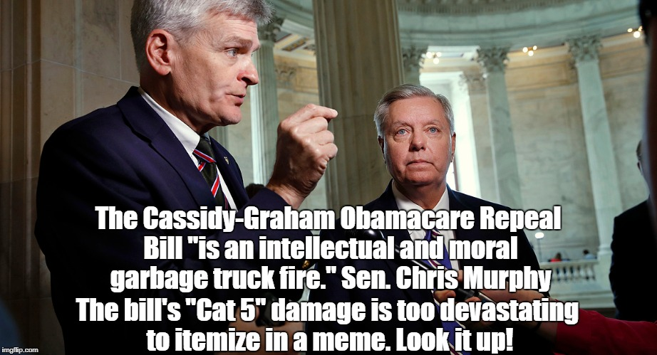 "The Cassidy-Graham Obamacare Repeal Bill ""is an intellectual and moral garbage truck fire."" Sen. Chris Murphy The bill's ""Cat 5"" damage is t 