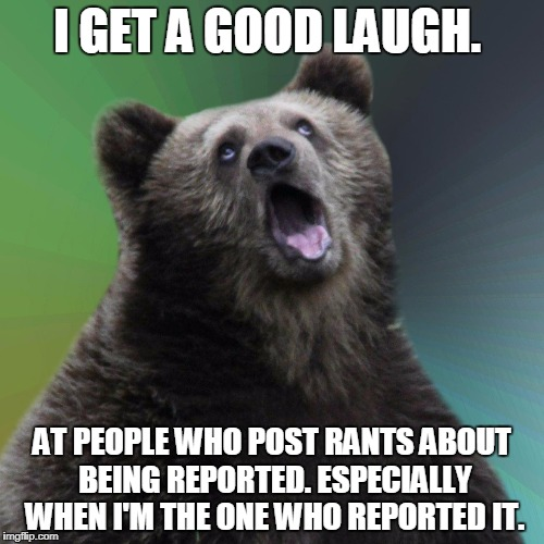 I GET A GOOD LAUGH. AT PEOPLE WHO POST RANTS ABOUT BEING REPORTED. ESPECIALLY WHEN I'M THE ONE WHO REPORTED IT. | image tagged in sarcastic bear | made w/ Imgflip meme maker