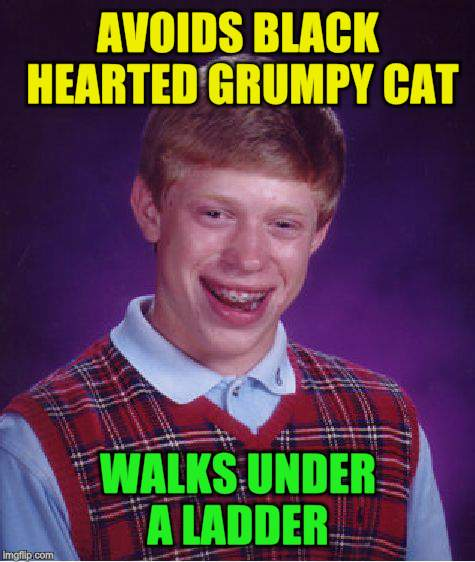 Bad Luck Brian Meme | AVOIDS BLACK HEARTED GRUMPY CAT WALKS UNDER A LADDER | image tagged in memes,bad luck brian | made w/ Imgflip meme maker