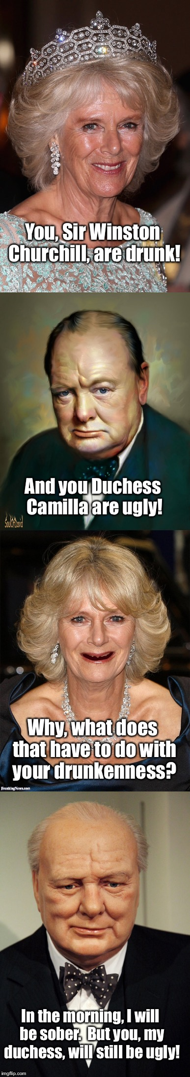 English ettiquette | You, Sir Winston Churchill, are drunk! And you Duchess Camilla are ugly! Why, what does that have to do with your drunkenness? In the mornin | image tagged in memes,winston churchill,camilla bowles,ugly,drunk | made w/ Imgflip meme maker