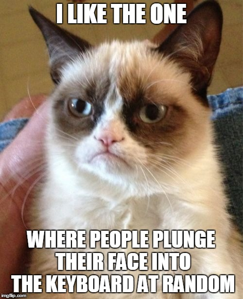 Grumpy Cat Meme | I LIKE THE ONE WHERE PEOPLE PLUNGE THEIR FACE INTO THE KEYBOARD AT RANDOM | image tagged in memes,grumpy cat | made w/ Imgflip meme maker