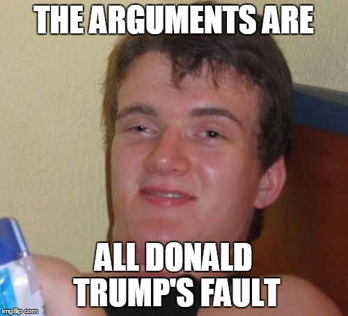 10 Guy Meme | THE ARGUMENTS ARE ALL DONALD TRUMP'S FAULT | image tagged in memes,10 guy | made w/ Imgflip meme maker