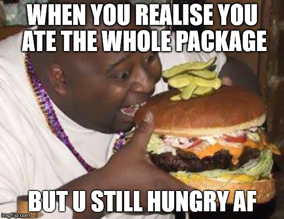 fat nibba | WHEN YOU REALISE YOU ATE THE WHOLE PACKAGE BUT U STILL HUNGRY AF | image tagged in fat nibba | made w/ Imgflip meme maker