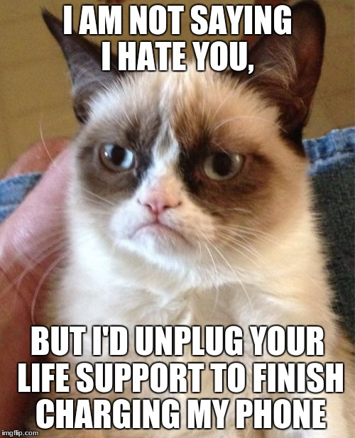 Grumpy Cat Meme | I AM NOT SAYING I HATE YOU, BUT I'D UNPLUG YOUR LIFE SUPPORT TO FINISH CHARGING MY PHONE | image tagged in memes,grumpy cat,deth_by_dodo,dank memes,funny | made w/ Imgflip meme maker