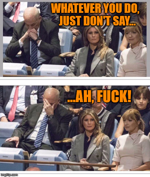 John Kelly Facepalm | WHATEVER YOU DO, JUST DON'T SAY... ...AH, F**K! | image tagged in john kelly,trump,un speech,nsfw,memes | made w/ Imgflip meme maker