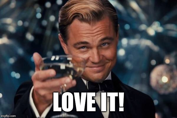 Leonardo Dicaprio Cheers Meme | LOVE IT! | image tagged in memes,leonardo dicaprio cheers | made w/ Imgflip meme maker