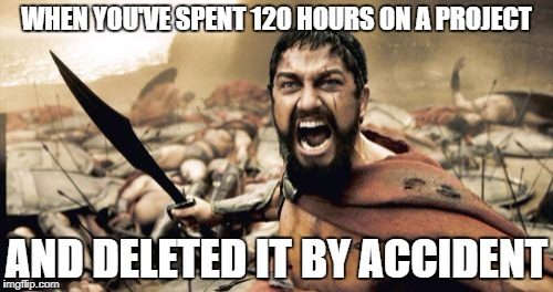 Sparta Leonidas Meme | WHEN YOU'VE SPENT 120 HOURS ON A PROJECT AND DELETED IT BY ACCIDENT | image tagged in memes,sparta leonidas | made w/ Imgflip meme maker