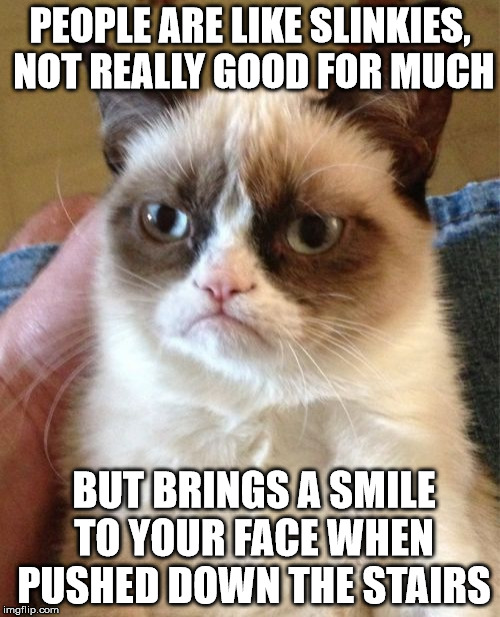 And kids with sugar rush are like fidget spinners! | PEOPLE ARE LIKE SLINKIES, NOT REALLY GOOD FOR MUCH BUT BRINGS A SMILE TO YOUR FACE WHEN PUSHED DOWN THE STAIRS | image tagged in memes,grumpy cat | made w/ Imgflip meme maker