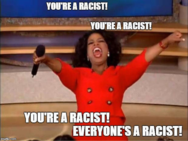 oprah winfrey racist | YOU'RE A RACIST!                                                                                                  YOU'RE A RACIST! YOU'RE A  | image tagged in memes,oprah you get a | made w/ Imgflip meme maker