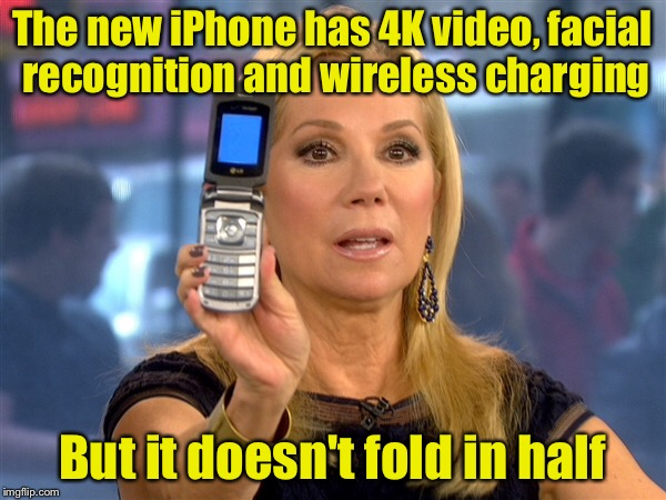 Ha ha, I win. | The new iPhone has 4K video, facial recognition and wireless charging But it doesn't fold in half | image tagged in memes,old school,iphone,cell phone | made w/ Imgflip meme maker