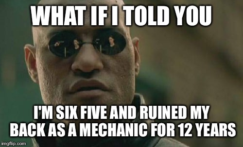 Matrix Morpheus Meme | WHAT IF I TOLD YOU I'M SIX FIVE AND RUINED MY BACK AS A MECHANIC FOR 12 YEARS | image tagged in memes,matrix morpheus | made w/ Imgflip meme maker