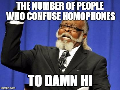 You people are dumb | THE NUMBER OF PEOPLE WHO CONFUSE HOMOPHONES TO DAMN HI | image tagged in memes,too damn high,funny,grammar nazi,dank memes,bad puns | made w/ Imgflip meme maker