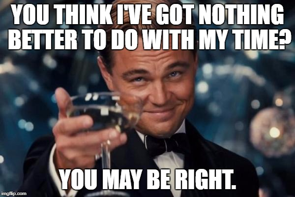 Leonardo Dicaprio Cheers Meme | YOU THINK I'VE GOT NOTHING BETTER TO DO WITH MY TIME? YOU MAY BE RIGHT. | image tagged in memes,leonardo dicaprio cheers | made w/ Imgflip meme maker