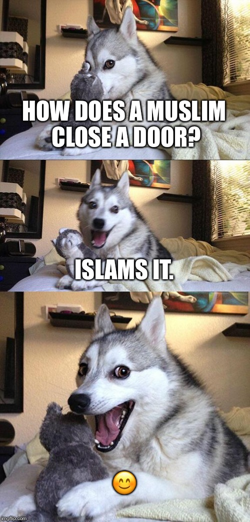 Oh, my god, doors | HOW DOES A MUSLIM CLOSE A DOOR? ISLAMS IT.  | image tagged in memes,bad pun dog,muslims,doors | made w/ Imgflip meme maker