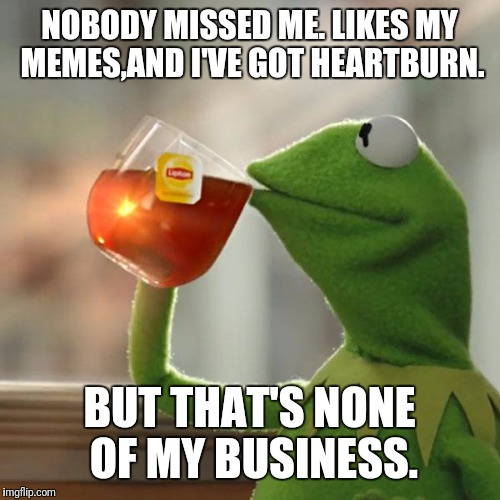 But Thats None Of My Business Meme | NOBODY MISSED ME. LIKES MY MEMES,AND I'VE GOT HEARTBURN. BUT THAT'S NONE OF MY BUSINESS. | image tagged in memes,but thats none of my business,kermit the frog | made w/ Imgflip meme maker