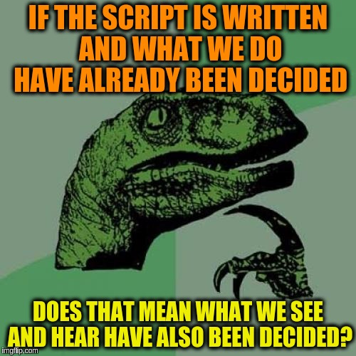 Philosoraptor | IF THE SCRIPT IS WRITTEN AND WHAT WE DO HAVE ALREADY BEEN DECIDED DOES THAT MEAN WHAT WE SEE AND HEAR HAVE ALSO BEEN DECIDED? | image tagged in memes,philosoraptor,fate,predestiny,philosophy,existentialism | made w/ Imgflip meme maker