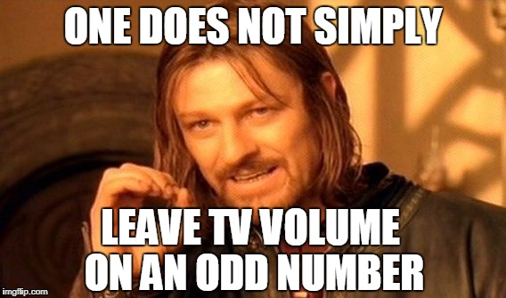 One Does Not Simply Meme | ONE DOES NOT SIMPLY LEAVE TV VOLUME ON AN ODD NUMBER | image tagged in memes,one does not simply | made w/ Imgflip meme maker