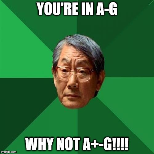 High Expectations Asian Father Meme | YOU'RE IN A-G WHY NOT A+-G!!!! | image tagged in memes,high expectations asian father | made w/ Imgflip meme maker