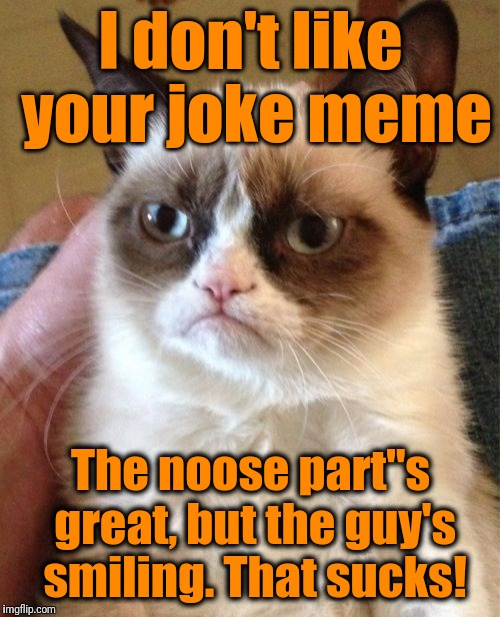 "Grumpy Cat Meme | I don't like your joke meme The noose part""s great, but the guy's smiling. That sucks! 