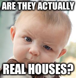 Skeptical Baby Meme | ARE THEY ACTUALLY REAL HOUSES? | image tagged in memes,skeptical baby | made w/ Imgflip meme maker