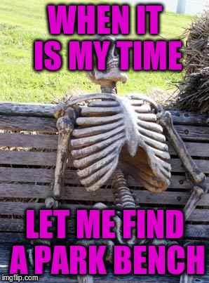 Waiting Skeleton Meme | WHEN IT IS MY TIME LET ME FIND A PARK BENCH | image tagged in memes,waiting skeleton | made w/ Imgflip meme maker