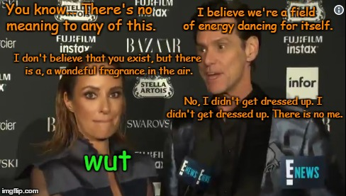 E! stands for Existential - Jim Carrey's Fashion Week Interview. The look on the interviewer's face lol. (̶◉͛‿◉̶) | You know... There's no meaning to any of this. wut I don't believe that you exist, but there is a, a wondeful fragrance in the air. I believ | image tagged in memes,hollywood,celebrities,jim carrey,catt sadler,fashion week | made w/ Imgflip meme maker